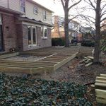 Deck framing installed in preparation for a new custom deck in Northville MI