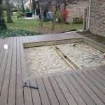 Custom decking being prepped for a paver inset in Commerce MI