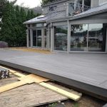 An almost completed deck on a home in Commerce MI