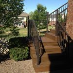Stairway to a custom built deck by Images Landscaping in South Lyon MI