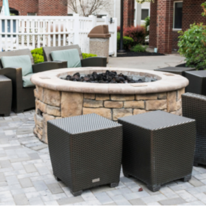 seating around fire pit on a patio
